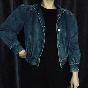 Vtg medium wash denim jean bomber style jacket